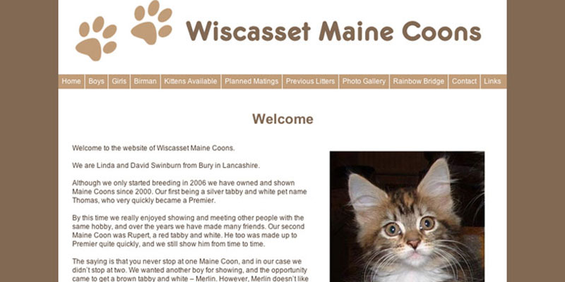wiscassetmainecoons.co.uk Website Design & Build